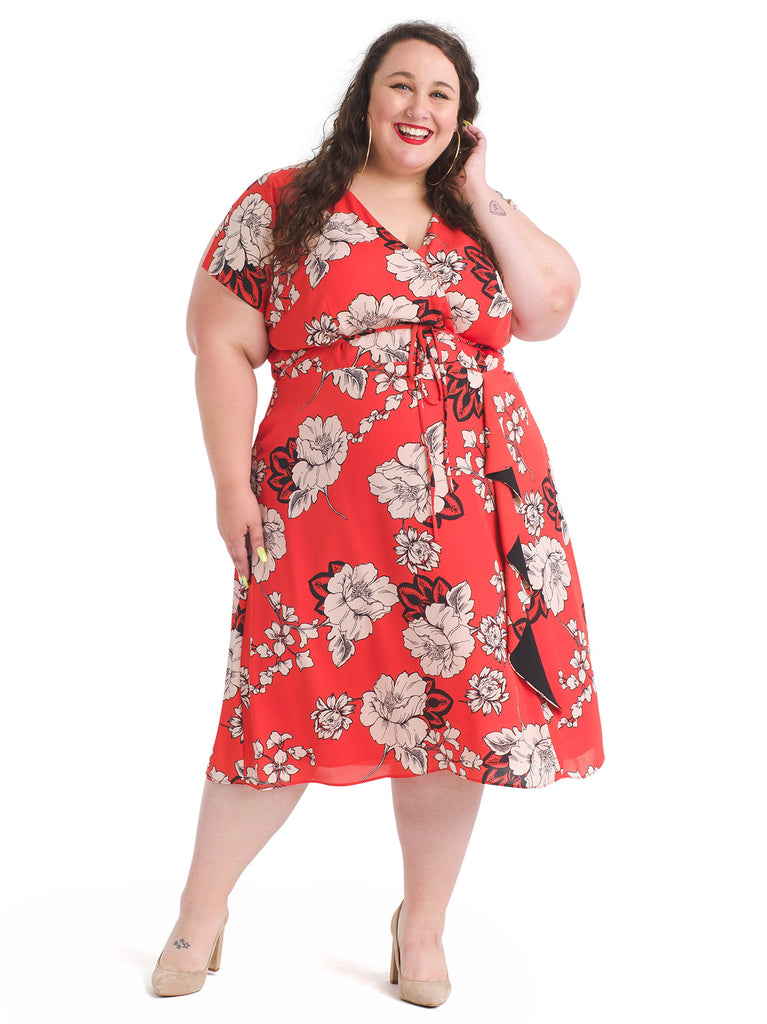 Front Ruffle Red Floral Dress