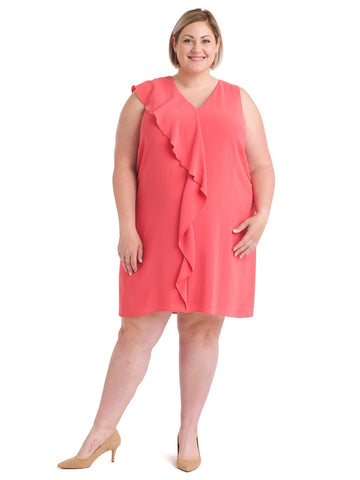 Coral Gauzy Crepe Corkscrew Dress