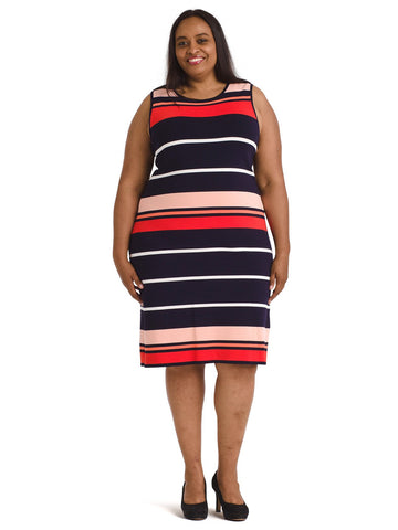 Multi Striped Knit Shift Dress