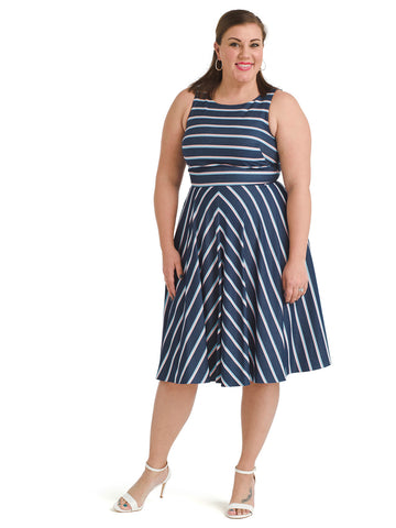 Chevron Stripe Fit And Flare Dress
