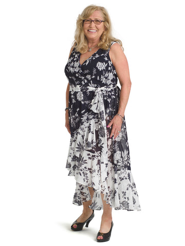 Twin Print Jersey Faux Wrap Dress