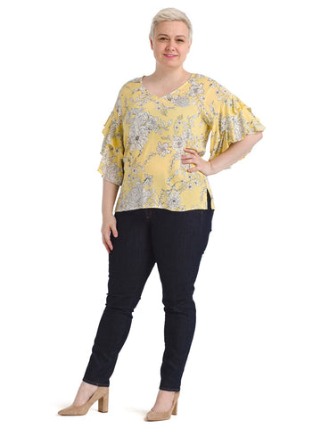 Floral Ruffle Sleeve Yellow Top