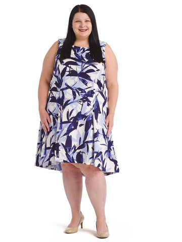Brushstroke Blue And White Dress
