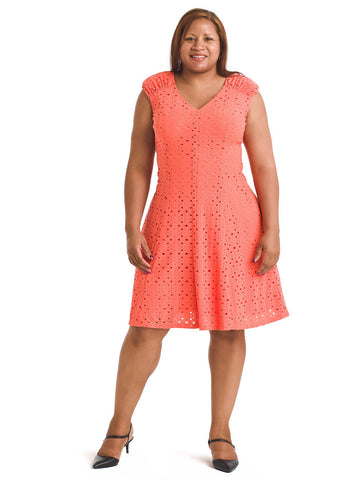 Shirred Shoulder Coral Eyelet Dress