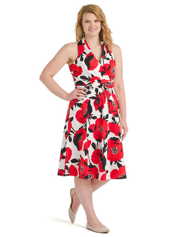 Red Floral Sleeveless Fit And Flare Dress