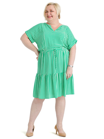Split Neck Green Striped Dress