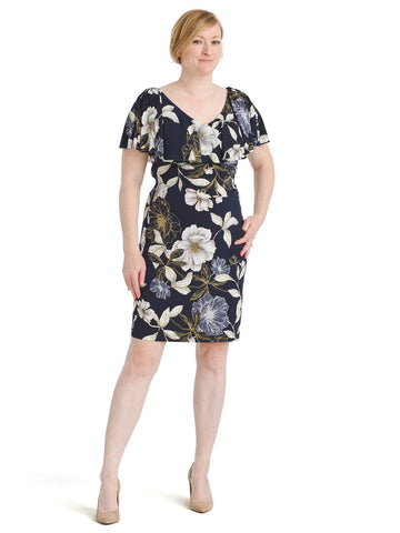 Ruffle Shoulder Botanical Sheath Dress