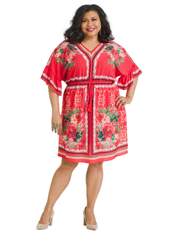 Border Print Red Floral Dress