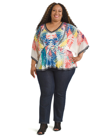 Palm Print Multicolored Top