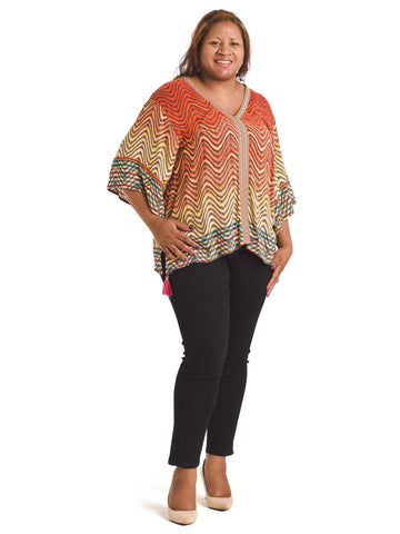 Tassel Wave Print Top