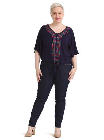 Dolman Sleeve Embroidered Tie Front Top