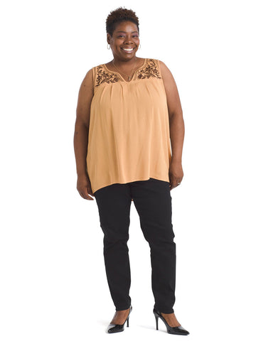 Embroidered Yoke Gold Top