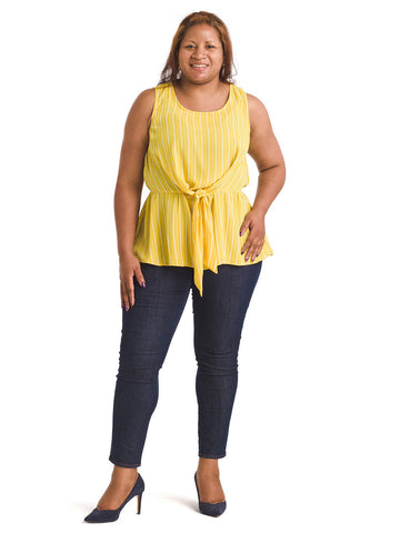 Sleeveless Yellow Tie Knot Peplum Top