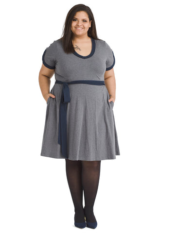 Contrast Trim Gray Fit And Flare Dress