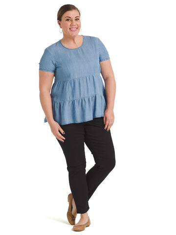 Tiered Medium Wash Chambray Top