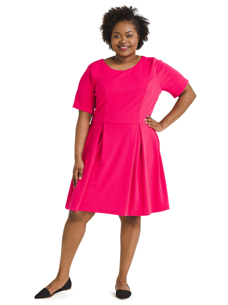 Fuchsia Fit And Flare Dress