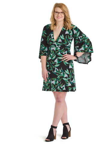 Tropical Leaves Black Fit And Flare Dress