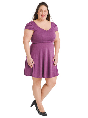 Cap Sleeve Violet Fit And Flare Dress