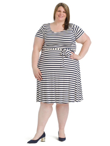 Navy And White Stripe Fit And Flare Dress
