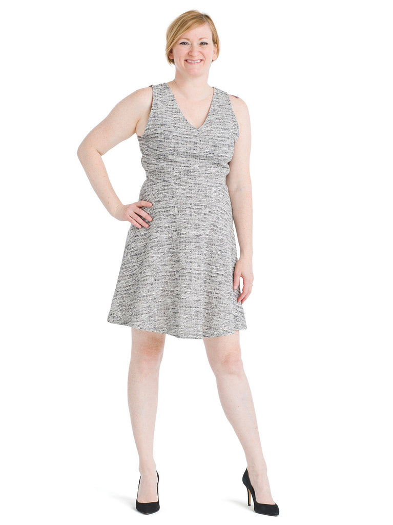 Textured Gray Fit And Flare Dress