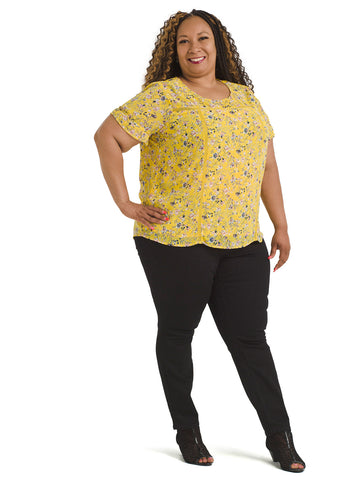 Sheer Sleeve Yellow Floral Top