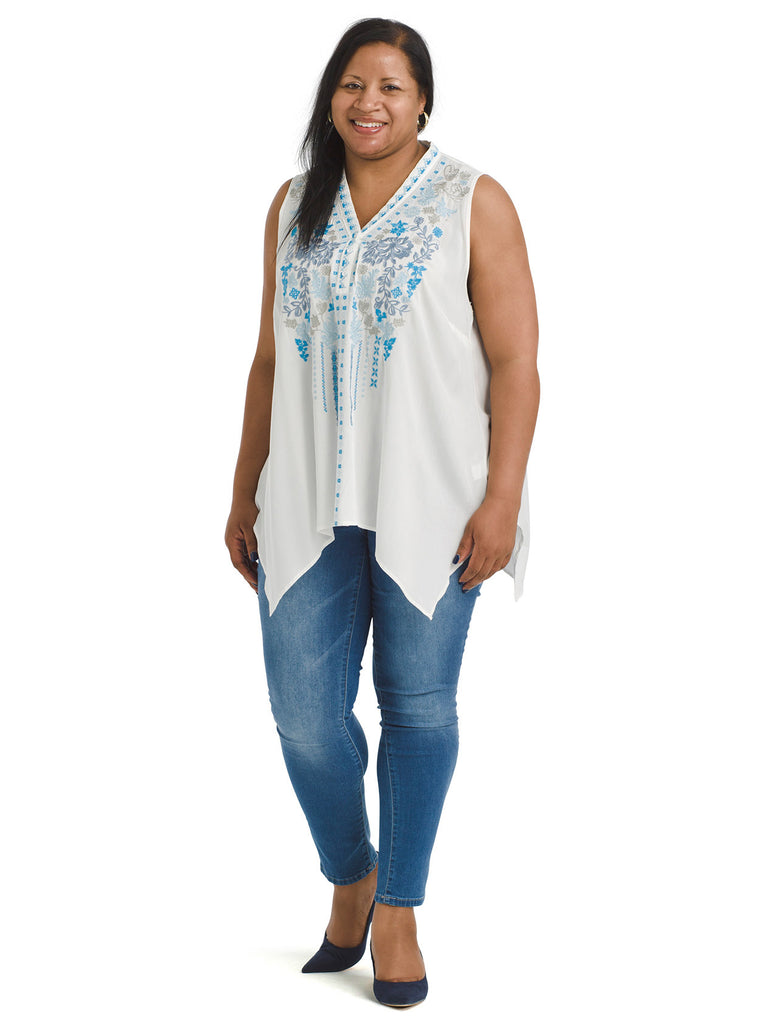 Sleeveless Embroidered Front White Top