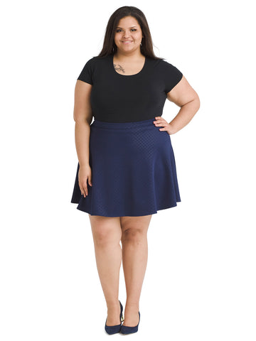 Textured Navy Skirt