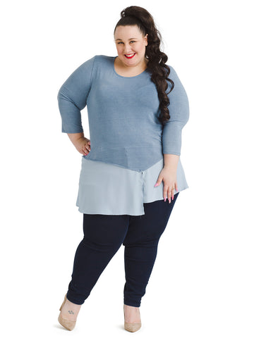 Asymmetrical Hem Blue Twofer Top