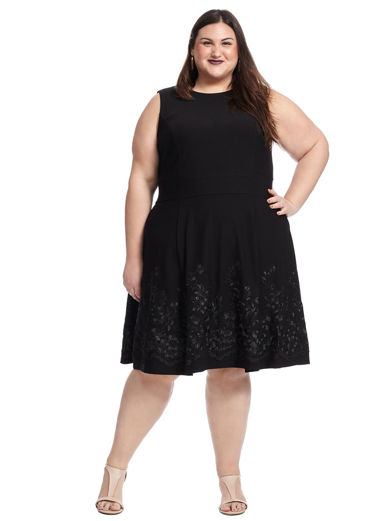 Black Scuba Crepe Fit And Flare Dress
