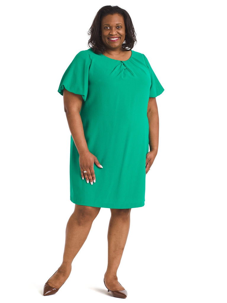 Puff Sleeve Emerald Shift Dress