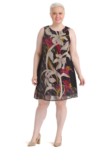 Sketch Print Chiffon Trapeze Dress