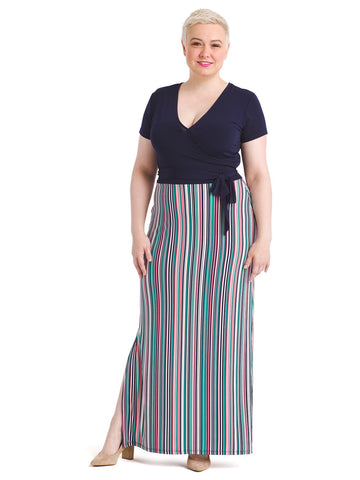 Multi Stripe Short Sleeve Perfect Faux Wrap Maxi Dress