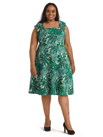 Jungle Jacquard Eve Flare Dress