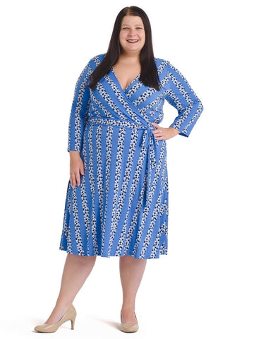 Blue Bell Floral Stripe Perfect Faux Wrap Dress