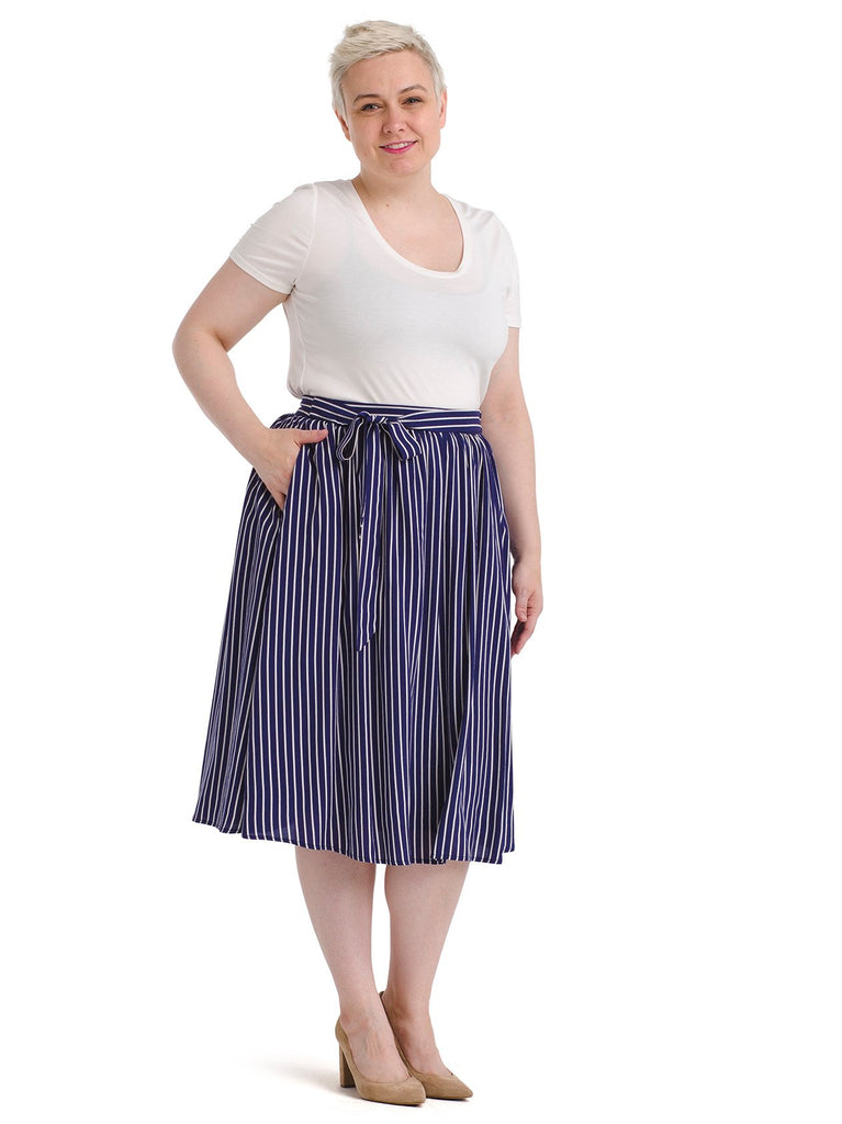 Striped Woven Full Skirt