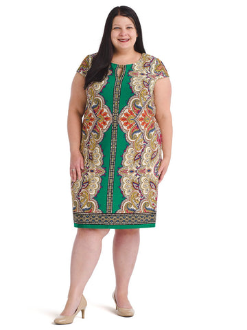 Mirrored Paisley Cap Sleeve Shift Dress