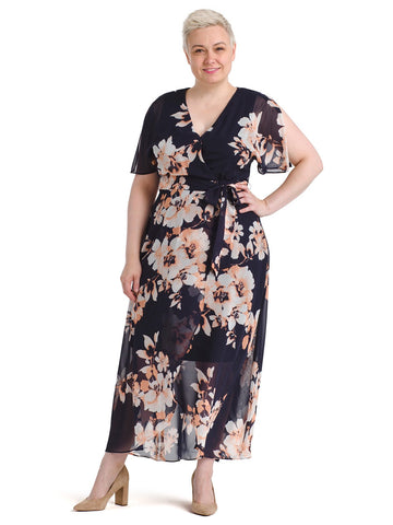 Flutter Sleeve Navy Maxi Dress