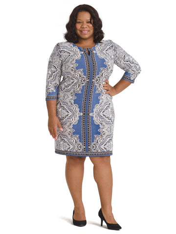 Mirrored Paisley Shift Dress