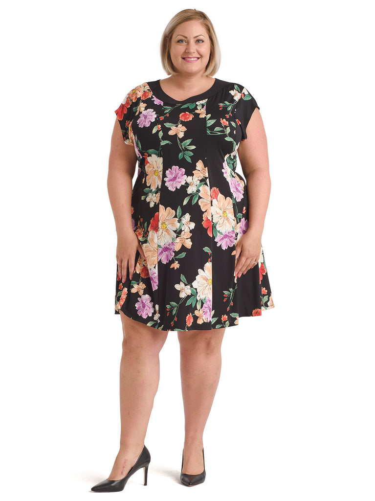 Banded Detail Floral Dress
