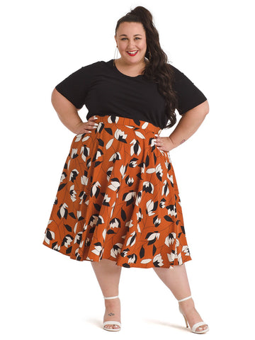 Brown Floral Circle Skirt
