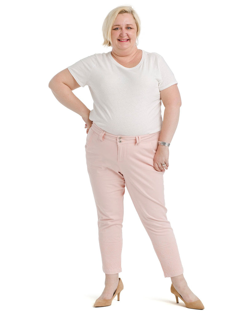 Embroidered Pastel Pink Flora Chino Pants