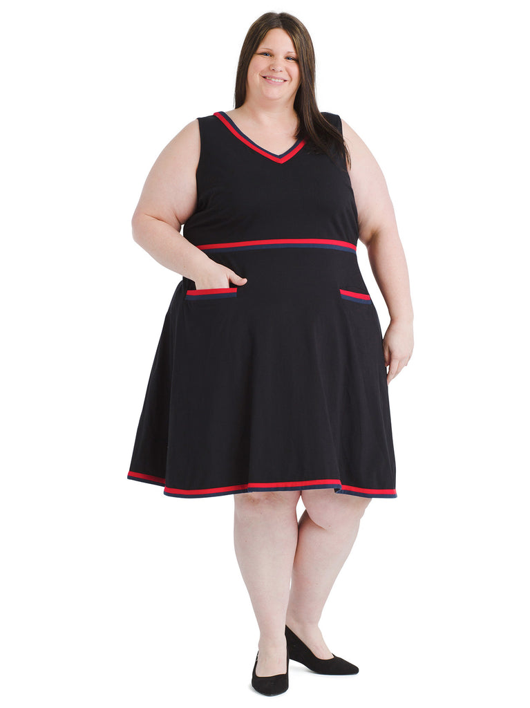 Red Trim Black Fit And Flare Dress