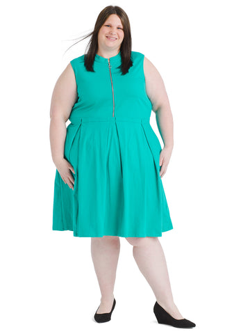 Zipper Front Turquoise Dress