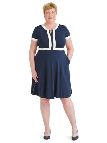 Contrast Trim Navy Fit And Flare Dress