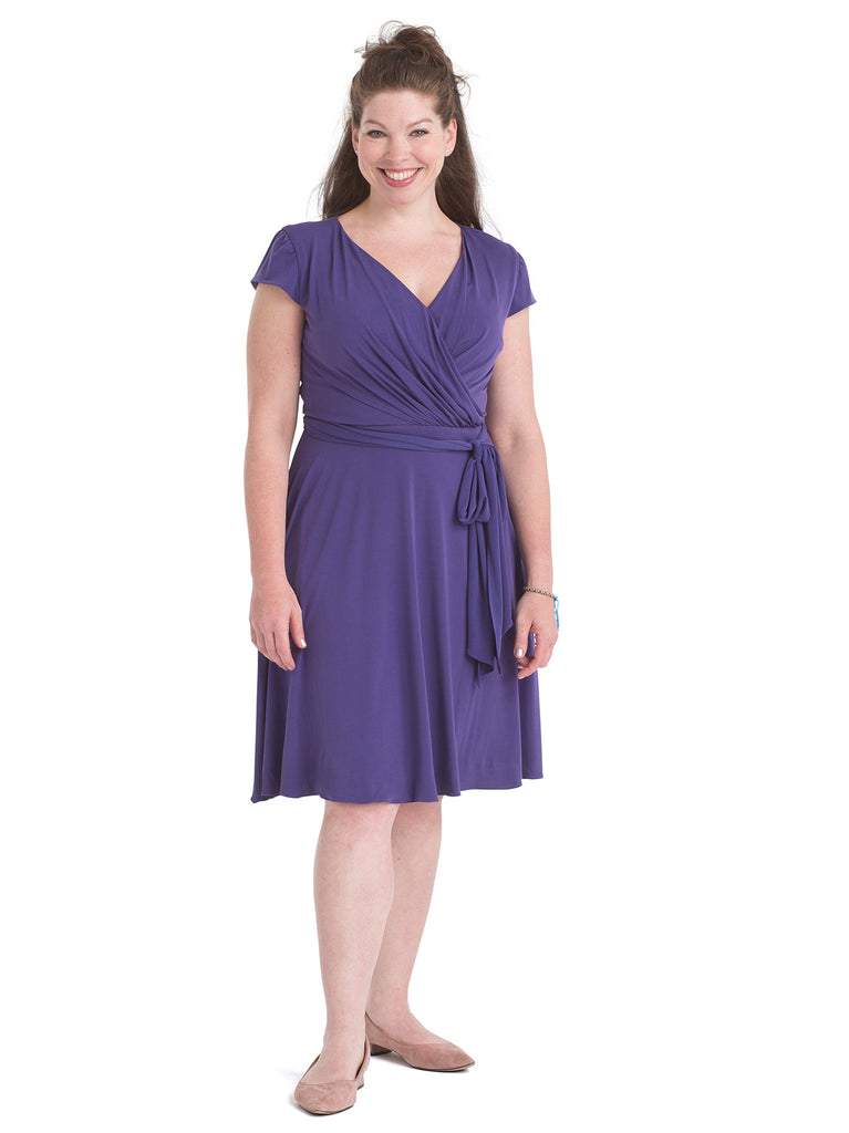 Eggplant Faux Wrap Dress