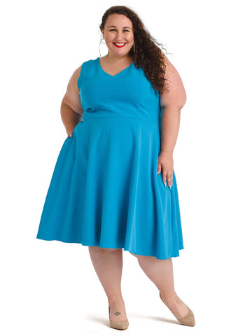 Sleeveless Teal Fit And Flare Dress