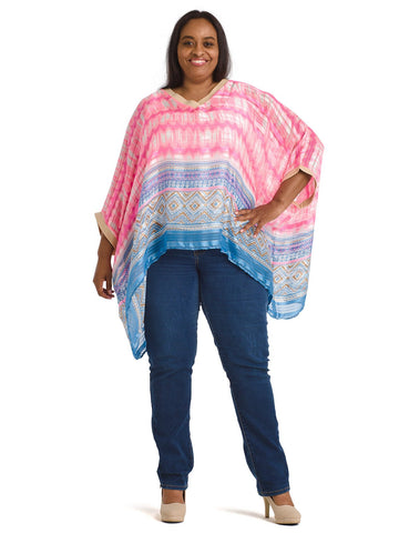 Blue And Pink Poncho Top