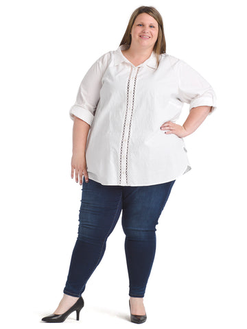 Trim Detail White Button Down Top