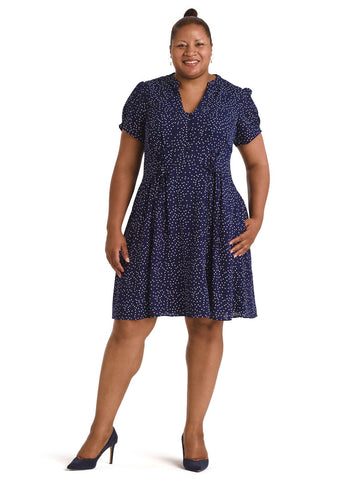 Navy Spot Blue Skies Fit and Flare Dress