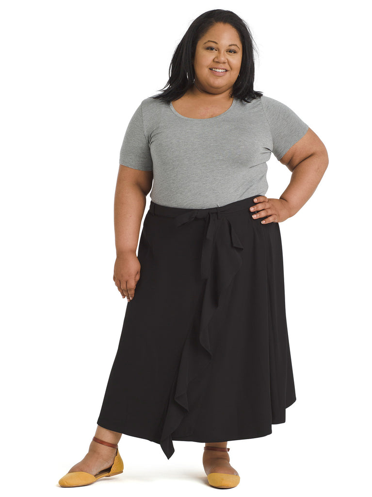 Ruffled Belted Faux Wrap A-Line Skirt